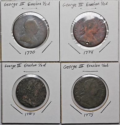 GREAT BRITAIN. Lot of 4 George III Colonial Evasion Halfpenny, 1770, 1774, 1775