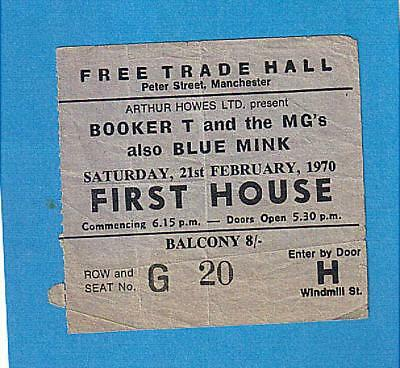 BOOKER T. AND THE M.G.'s also BLUE MINK  MANCHESTER 1970