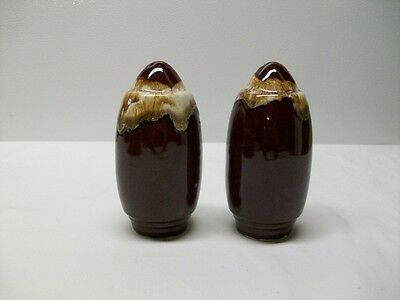 Vintage Hull Pottery Brown Drip Salt and Pepper Shakers