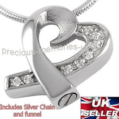 Diamante Heart Cremation Ashes Necklace - Funeral Jewellery - Pendant Ash Urn