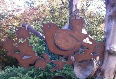 Rusty Steel Robin On A Holly Twig / Post Topper Garden Ornament