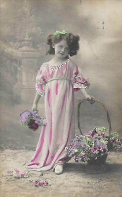 Old Postcard  Girl With Basket Of Flowers