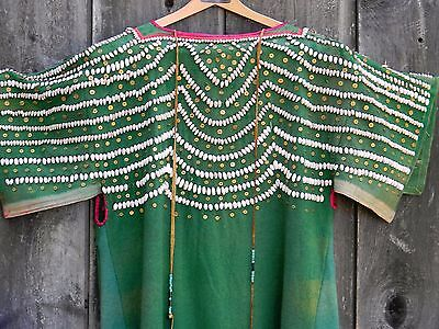 ANTIQUE PLATEAU RARE GREEN LIST CLOTH DRESS with SHELL BEADS