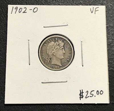 1902-O U.s. Barber Dime ~ Vf Condition ~ Better Date! $2.95 Max Shipping! C138