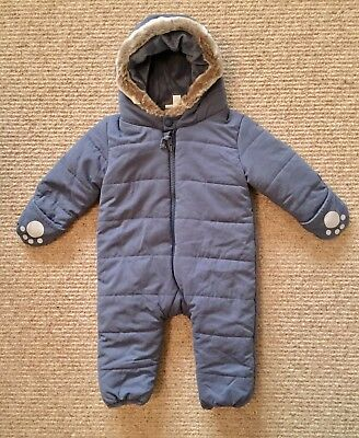 New Baby Boys White Company Blue Fleece Lined Snowsuit 3-6 Months