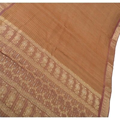 Sanskriti Antique Vintage Indian Saree 100% Pure Silk Woven Fabric Premium Sari