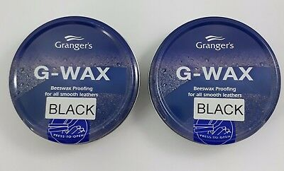 Granger G Wax 80g Black Twin pack Leather Shoe/Boot Waterproofer Beeswax Polish