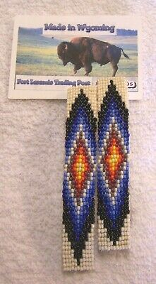 Hand Made Beaded Hair Barrette Set Rendezvous Black Powder Mountain Man 3