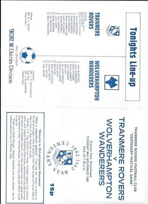 TRANMERE ROVERS     v WOLVES  30/11/1982  FRIENDLY