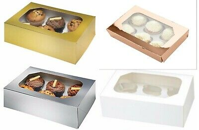 Club Green 6 Piece Muffin Cupcake Box X2 Clear Window Wedding Christmas Cake Box