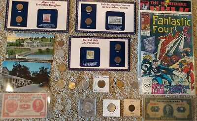 Junk Drawer Lot: Old Coins, SCRAP SILVER, Wheat Cents, Vintage Comics Lot #81
