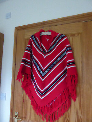 Vintage 1960's pink black and white Poncho