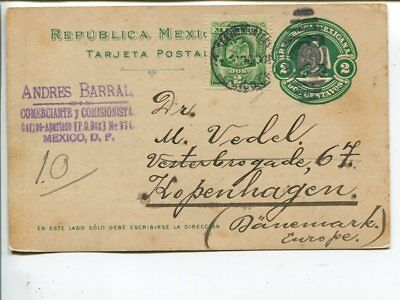 Mexico uprated postal card to Denmark 1910