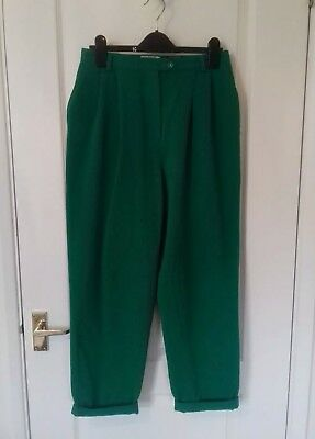 Bright green pintuck high waist wool trousers - vintage - Size 12 (10)
