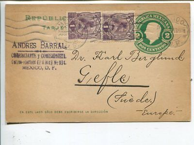 Mexico uprated postal card to Sweden 1913