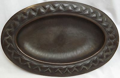 Antique Arts & Crafts Brass-Finished Oval Dish With Decorative Edge