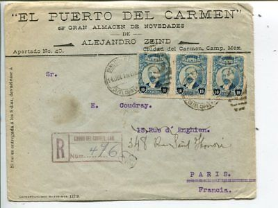 Mexico reg cover to France 1919