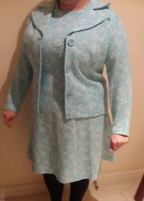 vintage light blue fitted handmade real 60s vintage dress and jacket size 16 18