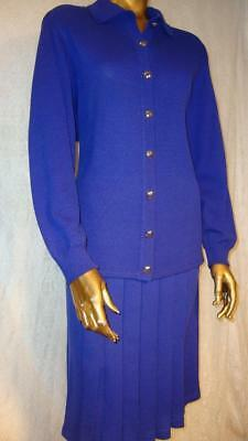St. John 2pc SKIRT SUIT * 10 *  PURPLE * JACKET BLAZER  * Santana Knit  USA