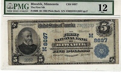 1902 First National Bank of BIWABIK, MN $5 note large bill PMG 12 Fine (LN13)