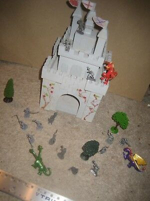 Toy wooden castle HO scale knights peasants dragons trees etc.