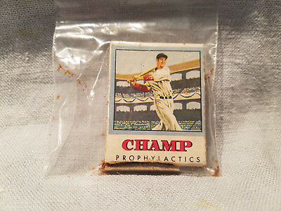 Vintage prophylactics package Champ condoms rubbers cardboard baseball