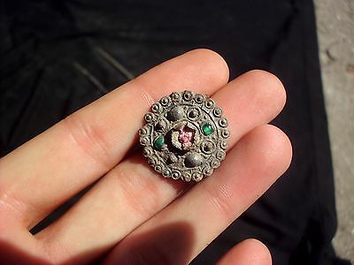 Superb Ancient Celtic Silver With Stones Solar Decoration