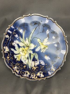 RS Prussia White Jonquils Cobalt Blue & Gold Beaded Rim Bowl Steeple Mold 343