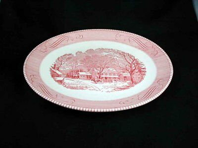 Royal China- CURRIER & IVES Pink Oval Meat Platter- 13 inch