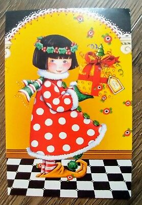 6 lot Mary Engelbreit Christmas Note Cards Girl Present w envelopes