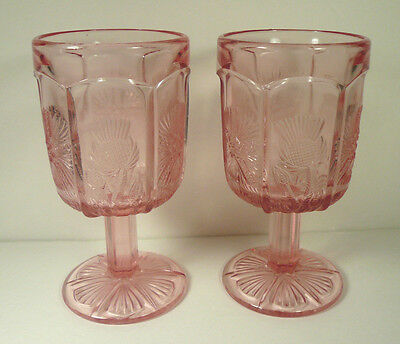 """LE Smith Higbee Pink Paneled Thistle 2 Goblets Glasses 6 1/4"""" S & Bee Mark USA"""