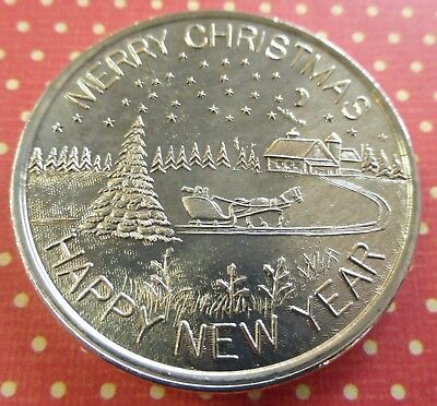 1 oz .999 silver art round merry christmas happy new year