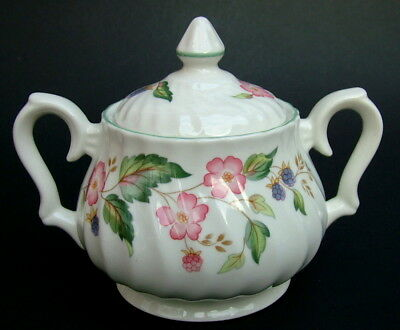 BHS Victorian Rose Pattern Tea Size Sugar Box & Lid 15cm With Label Looks in VGC
