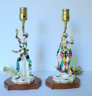 Pair of Vintage Mid-Century Modern Ceramic Pottery  Harlequin Jester Lamps