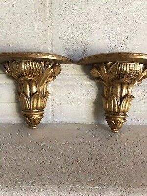 Classic Vintage  Florentine Wall Shelves Sconce Hand Carved Wood Gold Gilt Italy