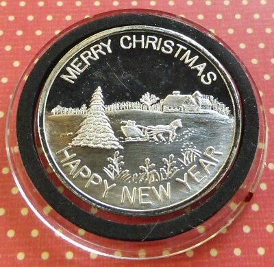 1 oz .999 silver art round sleigh ride merry christmas happy new year