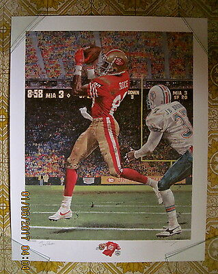 Limited Edition Signed Jerry Rice Litho Record Breaking Touchdowns by M. Corning