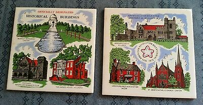 2 Hot Plates with Cork Backs Stark County Ohio Historical Buildings