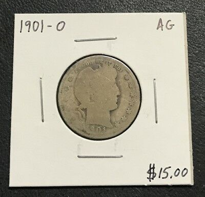 1901-O U.s. Barber Quarter ~ About Good Condition! $2.95 Max Shipping! C153