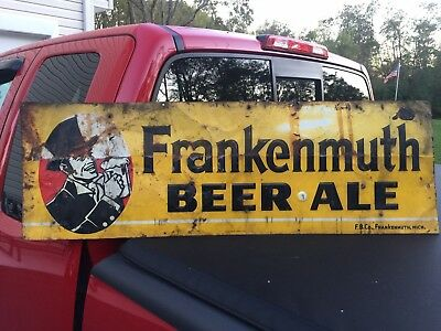 **Rare** ORIGINAL 1940's - 50's FRANKENMUTH BEER SIGN EMBOSSED TIN LITHO 36x12