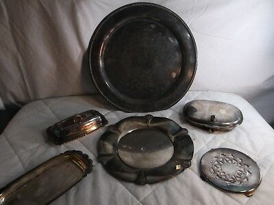 Vintage Lot of 6 Silver Plate Items  Trinket Dishes And Trays. rodgers and sons