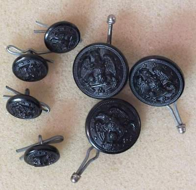 WW2 US Navy set of black plastic buttons for the gray uniform