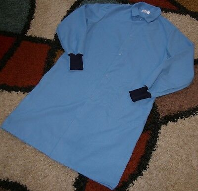"Best Medical Unisex L/S Lab Coat W/ Pocket & Knit cuffs 44"" Length Blue Size M"