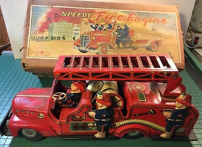 1950's HADSON SPEEDY FIRE ENGINE TIN LITHO FRICTION TOY w/Original Box MIJ NICE!