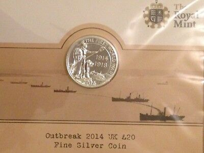 Outbreak 2014 UK £20 Fine Silver Coin The Royal Mint...