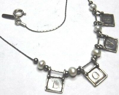 "Israel SI TL Signed 17"" Sterling Silver Love Pearl Fixed Charm Beads Necklace"