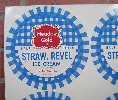 Old Meadow Gold Staw Revel Ice Cream Tin Metal Container Top Sign St Louis Mo