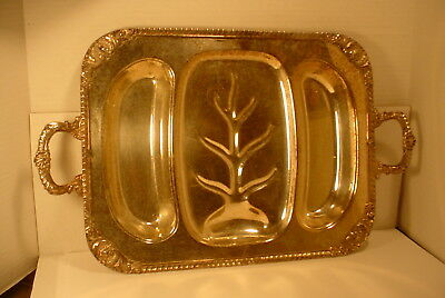 1 Vintage  Large Silverplate  Meat Wells Server Tray