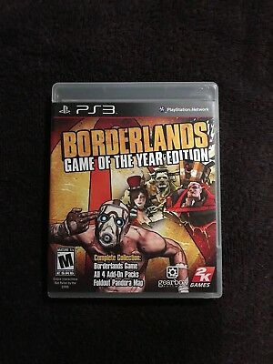 Playstation 3 Ps3 Game Borderlands Game Of The Year Goty