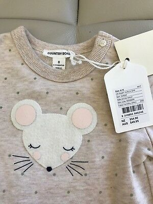Brand New Country Road Girl's Sweater Mouse Jumper Beige Sweatshirt 0 6-12 M $50